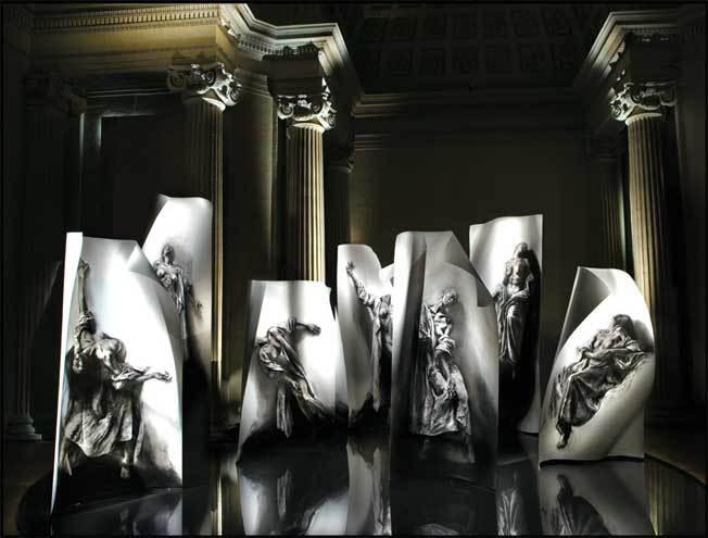 Ernest Pignon-Ernest. Extases. 2008-2014. Vue de l'installation au musée d'art et d'histoire de Saint-Denis, 2010. Courtesy de l'artiste et de la galerie Lelong, Paris.