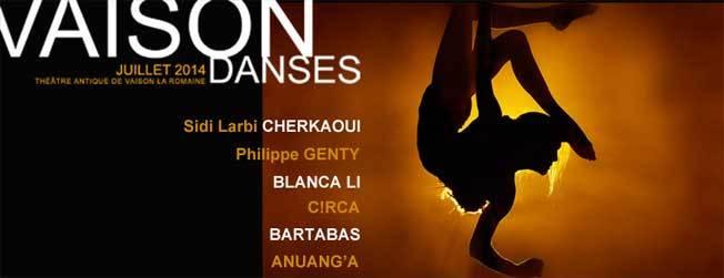 Festival International de Danse de Vaison la Romaine du 11 au 27 juillet 2014. Location ouverte le 12 mai