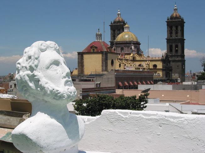 La cathédrale de Puebla vue du toit de l'hôtel Colonial © Pierre Aimar