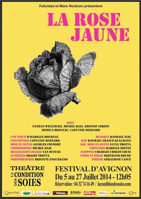 La Rose Jaune, Théâtre de la Condition des Soies, Avignon Off, du 5 au 27 juillet 2014