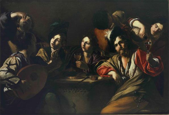 Bartolomeo Manfredi, Réunion des buveurs, 1619-1620, collection privée