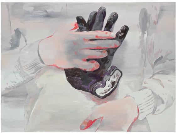 Les gants sur soi, 2013  Huile sur toile  97 x 130 cm © A. mole  Courtesy Semiose galerie, Paris