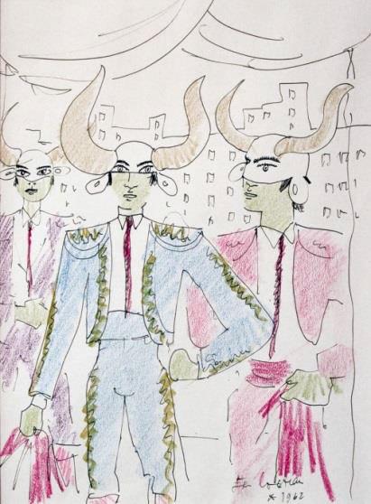 Le Choeur de la Parade Foraine 1962 : 39,7 x 29,4 cm  crayons gras de couleurs et encre brune – © Courtesy Galerie Bert