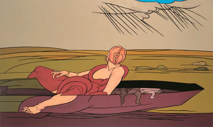 Valerio Adami. L'incantesimo del lago, 1984. Acrylique sur toile, 195 x 260 cm
