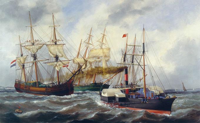 Navires entrant au Havre derrière un remorqueur. Edouard-Marie Adam, 1882, Le Havre © Musée national de la Marine / P. Dantec