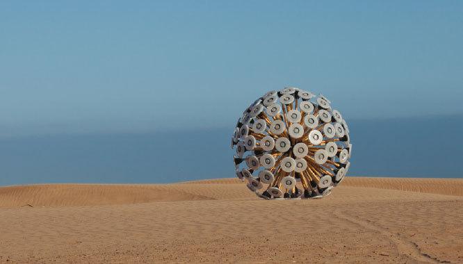 Mine Kafon. A silent picture of Mine Kafon in desert. Massoud Hassani, 2011© Hassani Design BV