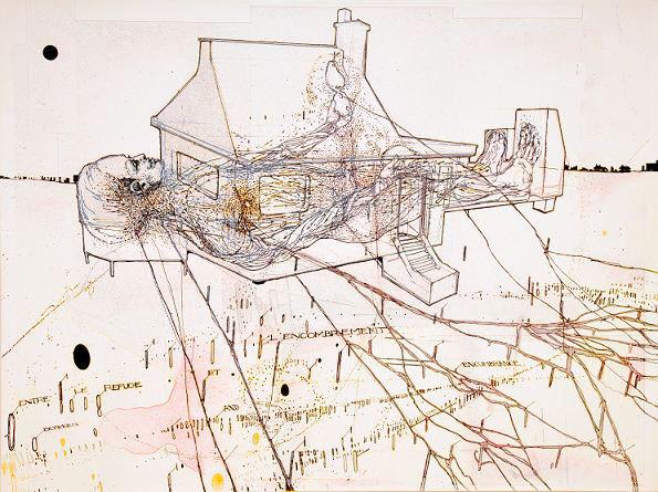 Massimo Guerrera. Entre refuge et encombrement 2007 2008 encre, acrylique, crayon sur tirage numérique, papier chiffon marouflé sur toile 53 x 73 cm