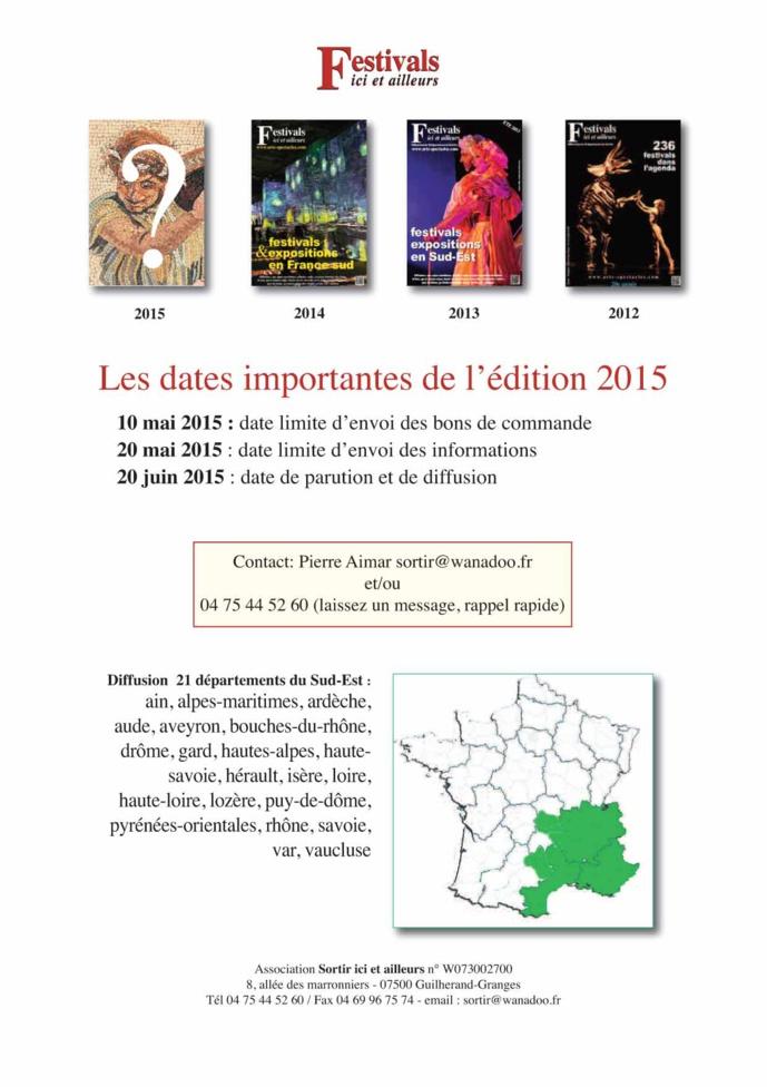 Festivals ici et ailleurs 2015 paraîtra le 20 juin prochain