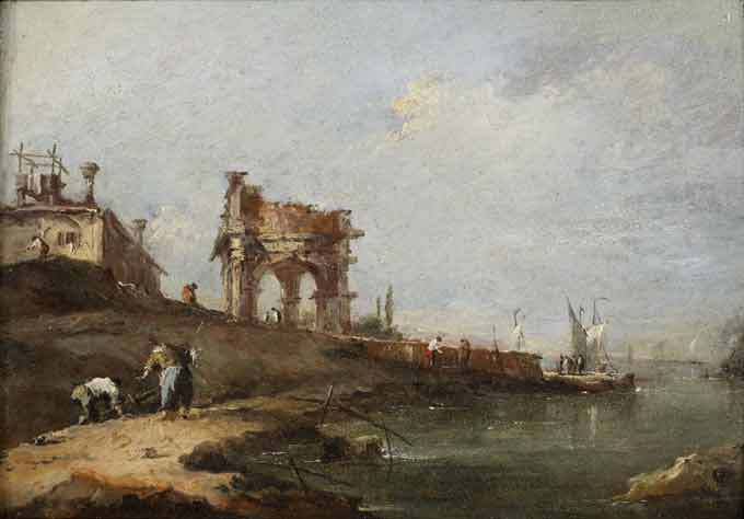 Charles Beddington Ltd. Francesco Guardi (1712-Venice-1792) A Capriccio of a ruined Classical Portico and a Villa by the Venetian Lagoon