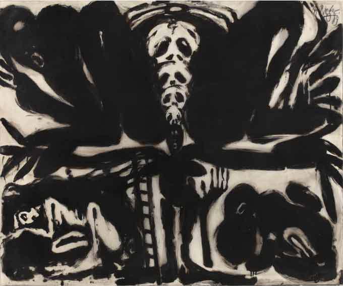 Helmut Rieger. Eros et la Mort : La naissance du monde, 1989, encre de Chine et acrylique sur papier trasparent, 114 x 134 cm