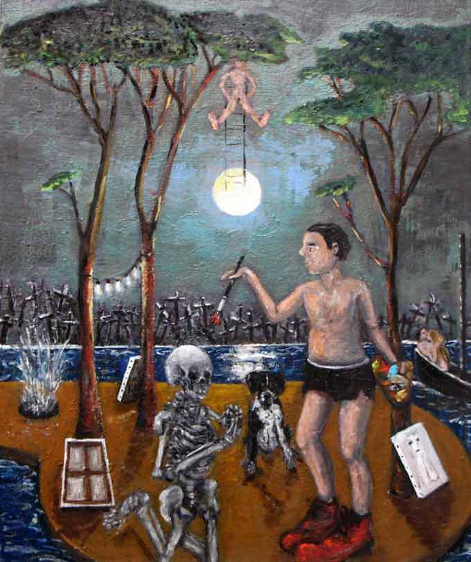 Éric Corne L'acrobate, 2014 Huile sur toile 46 x 55 cm Courtesy Galerie Patricia Dorfmann, Paris