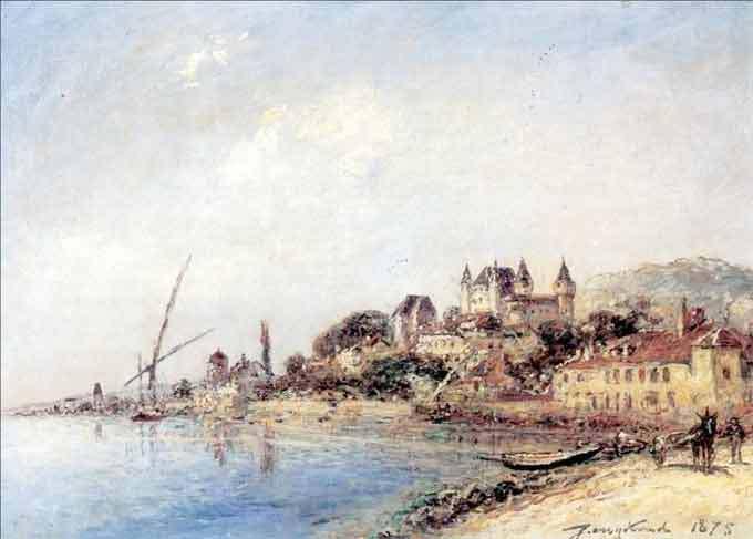 Le Château de Nyon, Lac de Genève (DR). Huile sur toile, signée et datée en bas à droite Jongkind 1875. 33,0 x 47,0 cm. Collection particulière (France)