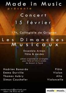 Les Dimanches Musicaux de Grignan, concert de l'ensemble Arman le 15 février 2015 à la Collégiale.