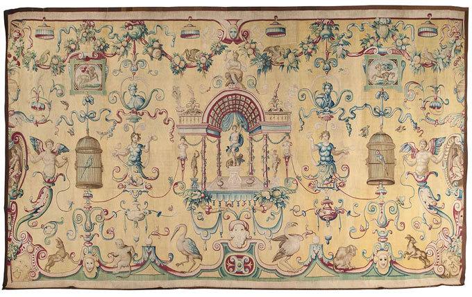 Grotesques sur fond jaune, tapisserie, Jean Rost Florence 1546/1560 Collection musée des Arts décoratifs, Paris, DR