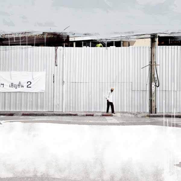 Wall 5 - 110 x 110 cm - Acrylique sur tirage photographique, 2015