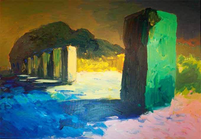 Patrice Giorda, Les pierres plantées N°2 | Huile sur toile 114 x 162 cm