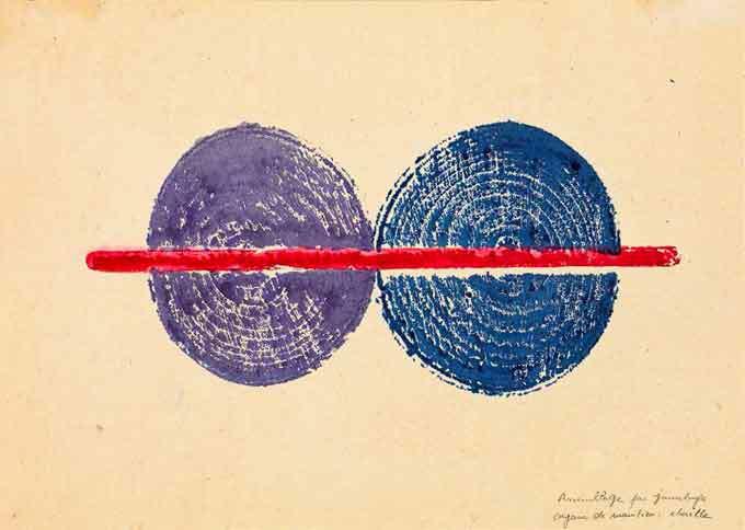 Empreinte d'assemblage par jumelage, 1972 Organe de maintien : cheville Encres de couleur  21,5 x 30 cm Collection privée