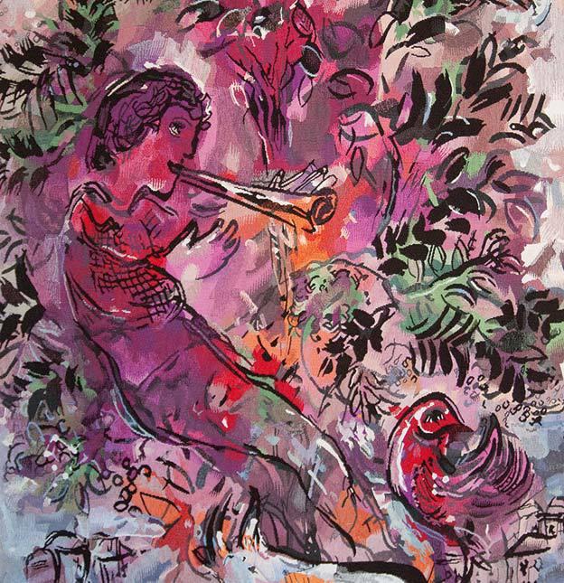 Yvette Cauquil-Prince, Le Garçon dans les fleurs (détail), 2005, tapisserie de basse lisse, exemplaire d'artiste, collection privée. Tapisserie réalisée d'après Le Garçon dans les fleurs, 1955, de Marc Chagall. Maître d'œuvre Yvette Cauquil-Prince