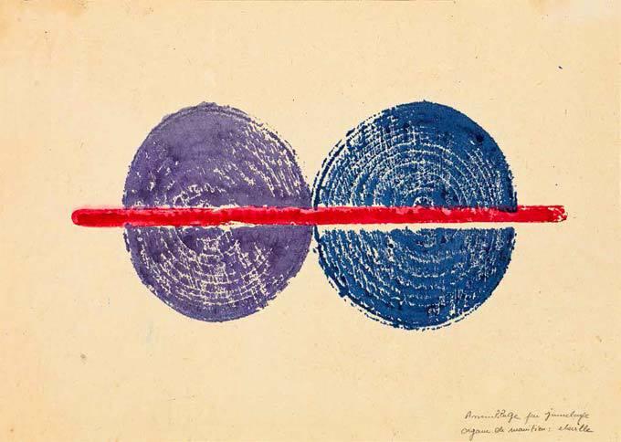 Empreinte d'assemblage par jumelage, 1972. Organe de maintien : cheville. Encres de couleur 21,5 x 30 cm. Collection privée