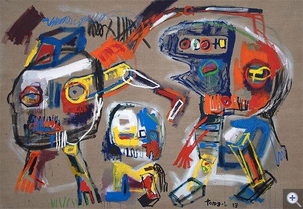 Dog and Badman. Technique mixte sur toile 140 x 200 cm