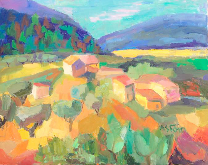 Marie Astoin,Hameau en Provence, hst, 73x92cm