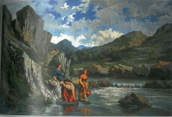 Mallet, Femmes puisant de l'eau dans une rivière, huile sur toile, 140 x 220 cm, collection particulière
