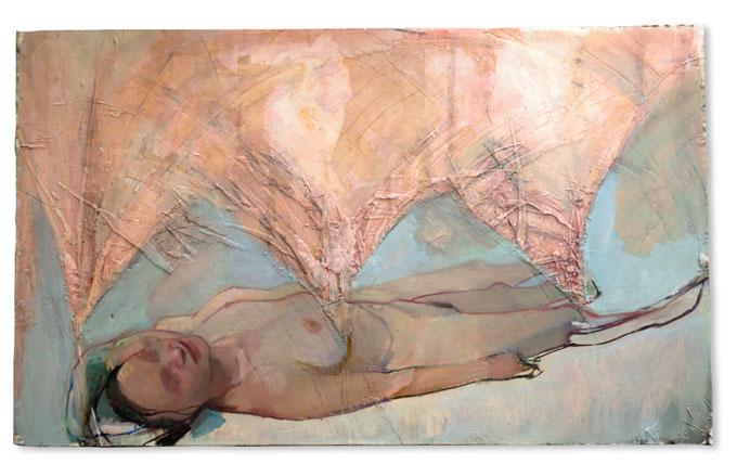 Rosy Lamb, la mélodie du bonheur, huile sur plâtre sculpté, 75x123 cm, 2015 ©