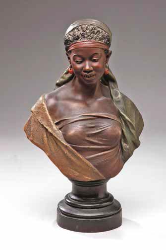 Joseph Le Guluche Buste de femme noire Non daté Terre cuite polychrome L'Isle-Adam, musée d'Art et d'Histoire Louis-Senlecq