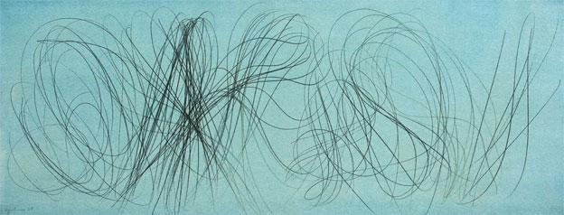 HANS HARTUNG, T-1960-7, 1960, vinylique et pastel sur toile, 40,5 x 105 cm