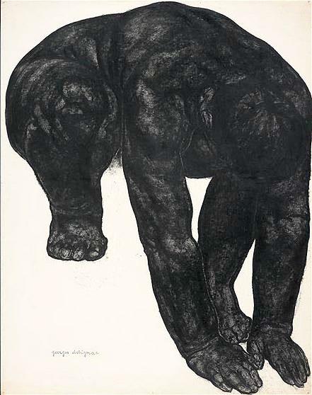 Femme accroupie, penchée en avant, 1913. Pierre noire et lavis noir. Courtesy Galerie Malaquais