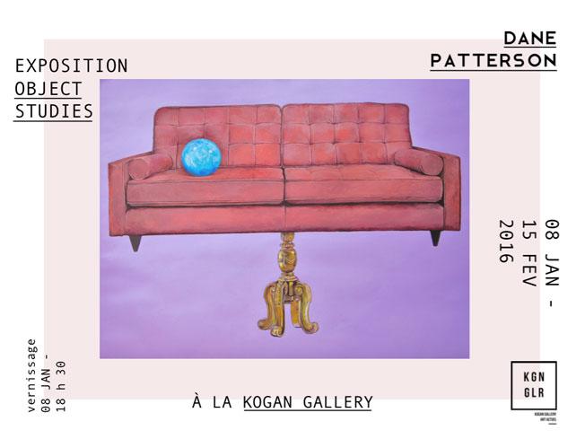 « object studies », Dane Patterson, exposition à la Kogan Gallery, Paris, du 8 janvier au 15 février 2016