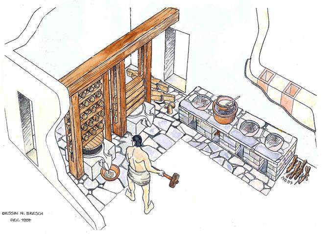Reconstitution de la parfumerie du quartier du stade, 100 av. J.C., Délos © dessin, Nicolas Bresch