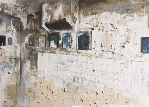 La salle d'exposition 2003 - Technique mixte sur papier peint marouflé sur toile 175 x 245 cm Collection Télérama, Paris © Nicolas Pfeiffer