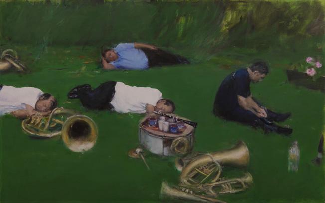 Florin Stefan, The Sleep, 2014, huile sur toile, 170 x 270 cm. Du 25 mars au 7 mai 2016