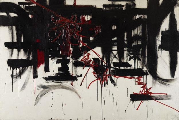 Georges Mathieu  Composition, 1951  Huile sur toile, 128,5 x 196 cm  Fondation Gandur pour l'Art, Genève [inv.: FGA-BA-MATHI-8]  Crédit : © Fondation Gandur pour l'Art, Genève. Photo : Sandra Pointet