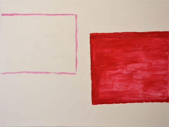 Didier Demozay, trait rose-rouge, 150 x 200 cm, acrylique sur toile, 2013