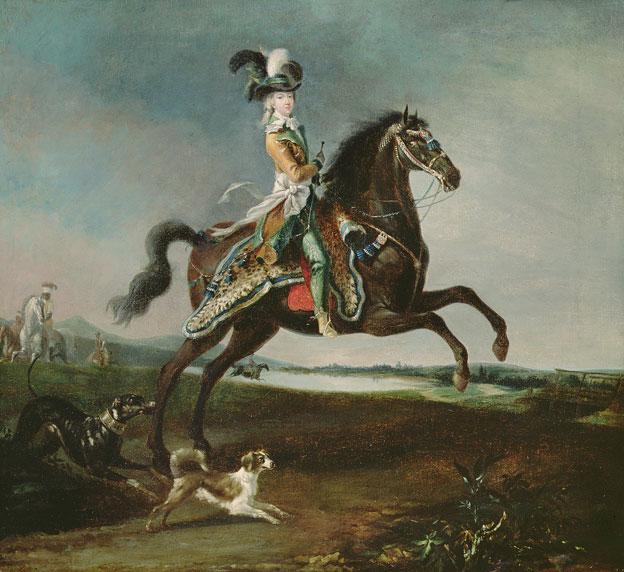 Louis-Auguste Brun. Portrait de Marie-Antoinette à cheval, 1783. Huile sur toile, 59 x 64,5 cm. Musée national des châteaux de Versailles et de Trianon, Versailles. © Bridgeman Images, Paris