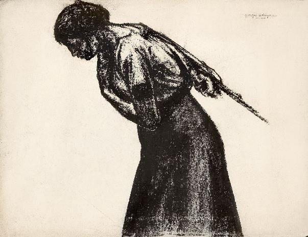 Haleuse  Pierre noire  Cachet d'atelier : georges dorignac - 490 x 640 mm