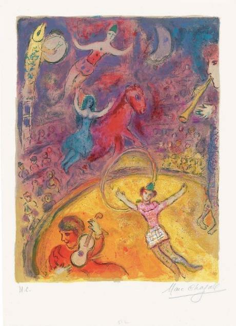 Marc Chagall. Le cirque, 1967, 51.5x37.5 cm