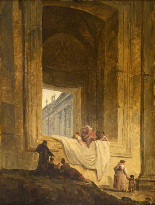 Hubert Robert, Personnages dans une baie à Saint-Pierre de Rome, 1763. Valence, musée de Valence © Musée de Valence, photo Éric Caillet