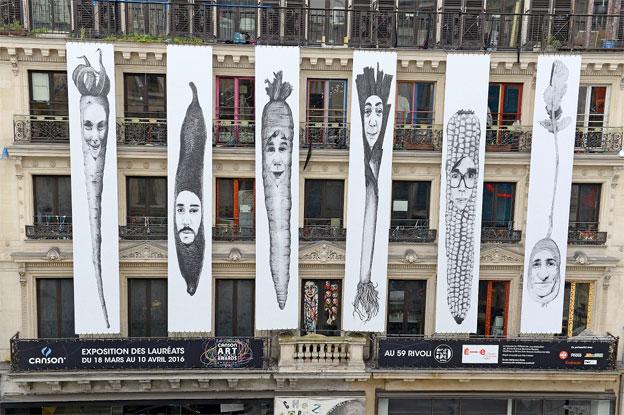 Des légumes XXL à visage humain en plein Paris ! Découvrez « Légumen », l'œuvre lauréate du « Prix Façade » édition 2016 des Canson® Art School Awards