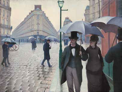 Gustave Caillebotte, Rue de Paris ; temps de pluie, 1877, huile sur toile, 212,2 x 276,2 cm Chicago, The Art Institute, Collection Charles H. et Mary F. S. Worcester © Wikimedia Commons