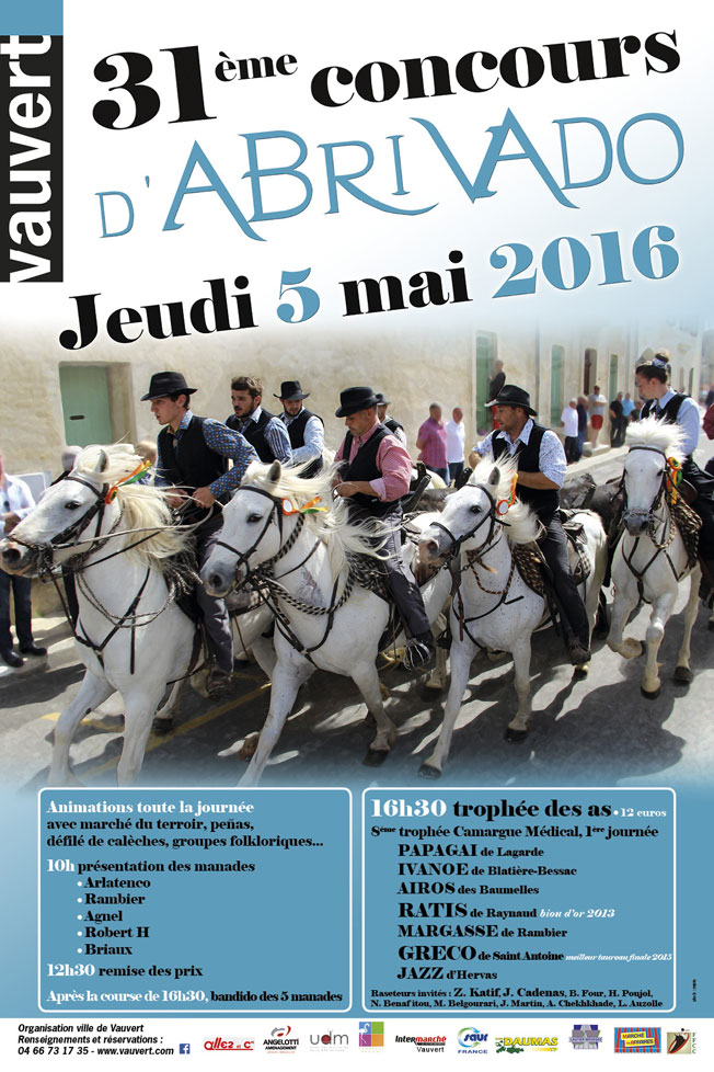 31e concours d'abrivado le 5 mai 2016 à Vauvert, Gard