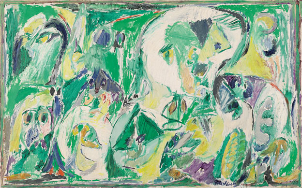 Pierre Alechinsky L'esprit du thé -  1965 huile sur toile, 132 x 211 cm Caroline et Maurice Verbaet Collection