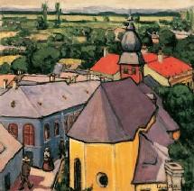 Tihanyi Lajos, Scène de rue à Nagybánya(vue depuis la tour), 1908. Huile sur toile, 70 x 70 cm. Coll. Galerie Nationale Hongroise
