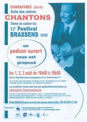 Charavines, Isère, 13ème festival Brassens. Vous savez chanter ? Vous savez vous accompagner ? Faites partager votre talent sur le podium ouvert à tous.