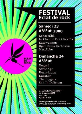 Haute-Loire, Festival Eclat de Rock. Samedi 23 et Dimanche 24 Aout.