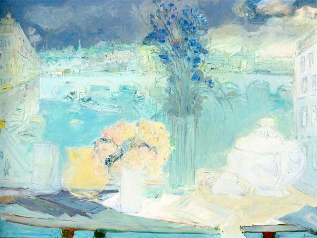 Jean Fusaro, «Fenêtre ouverte sur Paris», 1989, huile sur toile, 89 x 116 cm