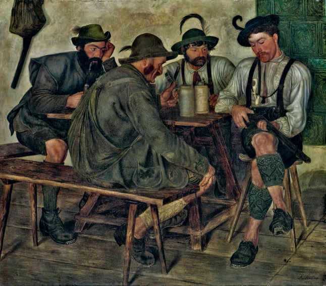 Karl Haider La Nouvelle Carabine, 1880, huile sur toile, 96,5 x 111,5 cm, Dresde, Staatliche Kunstsammlungen