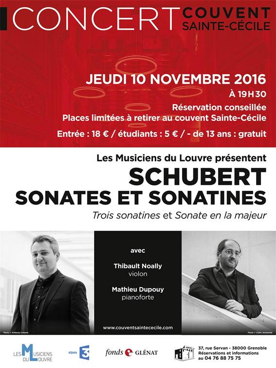 Concert Schubert des Musiciens du Louvre au couvent Sainte-Cécile à Grenoble, jeudi 10 novembre 2016